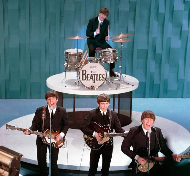 Ringo Playing His Black Pearl Ludwig Drums on Ed Sullivan