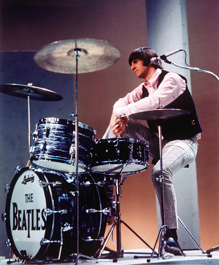 Ringo Sitting with his Black Pearl Drum Set