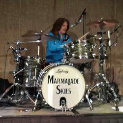 "Keith ""H.W."" Rosenbaum with Ringo's drum set built by TJS Custom Drums"